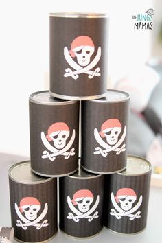 Piratenparty Spiel Dosenwerfen // pirate party game