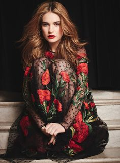 Lily James wearing Dolce&Gabbana in The Hollywood Reporter February 2015 shot by Mary Rozzi