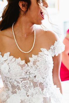Pearl Necklace for Bride in Off The Shoulder Wedding Dress | By Fiona Kelly Photography | Coiuntry House Wedding | Castle Wedding | Hit Pink Bridesmaid Dresses | White Tuxedo For Groom | Galia Lahav Wedding Dress | Classic Wedding | Bridal Jewellery | Bridal Accessories Classic Wedding Dress, Chic Wedding, White Bridesmaid Dresses, Wedding Dresses, Bridal Hair Accessories, Bridal Boutique, Indian Bridal, Galia Lahav, Wedding Castle