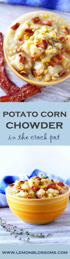 Creamy, thick, flavorful and super easy to make. This Potato Corn Chowder made in the crock pot is comfort food to the max!