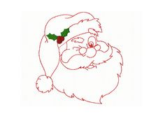 Christmas  Redwork  Winking Santa   Machine by TedandFriends, $2.00