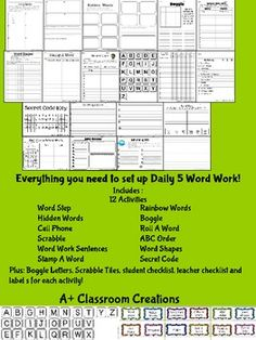 Daily 5 Word Work Bundle { Ready to go! 12 activities, bin