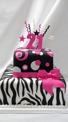 in pertaining to Best Cake Designs - Cake Design Ideas Zebra Birthday Cakes, 21st Birthday Cake For Girls, Happy 21st Birthday, 13th Birthday, Cupcakes, Cupcake Cakes, Torta Zebra, Best Birthday Cake Designs, Torta Animal Print
