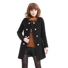 Laconic OL Style Scoop Neck Double Breasted Long Sleeves Artificial Wool Worsted Women's Coat, BLACK, M in Jackets & Coats | DressLily.com