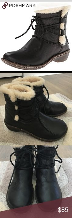Ugg Rianne boots Awesome ugg boots, great condition. Beautiful soft black leather. No wear at all to the soles. Sheepskin is still fluffy. Leather insole does not show wear. Leather shows sight creasing where foot bends. Prob worn 2-3 times. UGG Shoes Winter & Rain Boots