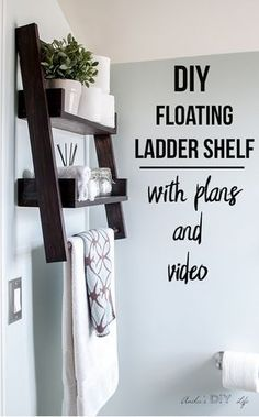 This is the shelf I have been waiting for!! This DIY floating ladder shelf is so genius! #woodworking #shelves Easy Woodworking Projects, Bathroom Organization, Ladder Decor, Diy Furniture, Towel, Easy Wood Projects, Simple Woodworking Projects, Furniture