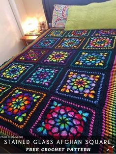 Stained Glass Afghan Crochet Square [FREE] Stained Glass Square is one of the most popular crochet projects. This project expects upper beginner skills but there are many ways to get this - written pattern and video tutorial. Mysterious color pallet makes Point Granny Au Crochet, Granny Square Crochet Pattern, Crochet Motif, Crochet Stitches, Knit Crochet, Crochet Blocks, Free Crochet Square, Granny Square Tutorial, Crochet Square Blanket