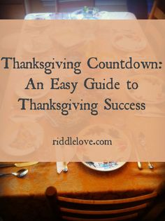 Thanksgiving Countdown!  An Easy Guide to Thanksging Success (found on: riddlelove.com)