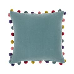 Add a splash of colour to your sofa with the Duck Egg Pom Pom cushion from Bluebellgray. In a beautiful duck egg blue colour, it features contrasting multi-coloured pom pom detailing around the edg...