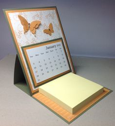 Butterfly Easel Calendar with Post It Note Pad by JenniCraftyCreations on Etsy https://www.etsy.com/listing/254215035/butterfly-easel-calendar-with-post-it