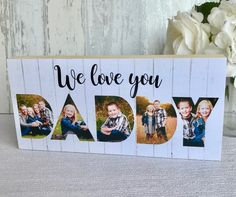 Fathers Day Gift, Daddy Photo Gift, Daddy Photo Frame, Daddy Gifts, Gift for Daddy, Gifts for Dad, Dad Gift, Love you Daddy, Daddy Love Gift by Hartscraft on Etsy Daddy Gifts, Fathers Day Gifts, Gifts For Dad, Wooden Pattern, Paper Anniversary, Grandparents Day, Photo On Wood, Love Gifts, Kids Gifts