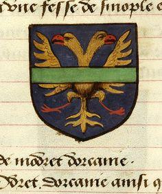 Noms, armes et blasons des chevaliers de la Table Ronde, MS M. 16 fol. 38v - Images from Medieval and Renaissance Manuscripts - The Morgan Library & Museum