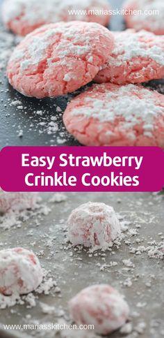 Easy Strawberry Crinkle Cookies Recipe #cookies Lemon Crinkle Cookies, Chocolate Crinkle Cookies, Chocolate Crinkles, Lemon Cookies, Yummy Cookies, Easy Cookie Recipes, Easy Desserts, Baking Recipes, Vegan Desserts