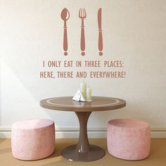 Quote Vinyl Stickers I Only Eat In Three Places Wall by DecalHouse