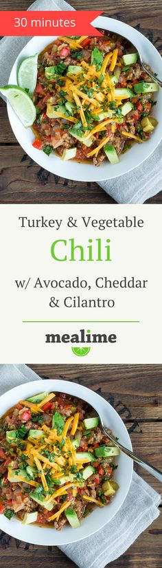 Healthy Turkey Chili Recipe with Veggies, Avocado & Cheddar via @mealime - a quick and healthy recipe for one or two. Flexitarian, keto, low carb, paleo/primal, fish free, gluten free, peanut free, shellfish free, and tree nut free. #mealplanning