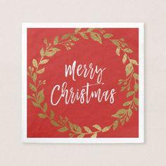 Merry Christmas Faux Gold Foil Wreath Paper Napkin