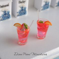 Strawberry Banana Cocktail Drinks   Dollhouse Miniature by dpaone