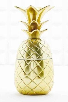 Boîte à bijoux dorée en forme d'ananas
