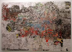 Just heard about Mark Bradford, since he is at the MCA this year. Detail from above: Mark Bradford, Graffiti, Abstract Drawings, Cool Paintings, Map Art, Plans, Contemporary Paintings, American Artists, Artist Art