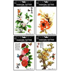 Hot selling and fashionable 4pcs different colorful flowers and peony long lasting and realistic temp tattoo stickers designs in 1 package ** Want additional info? Click on the image. (This is an affiliate link) #Makeup