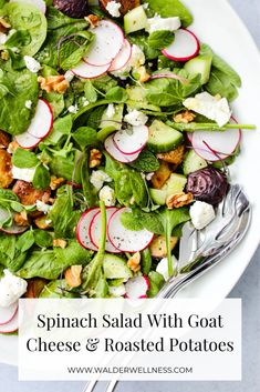 This spring spinach salad with goat cheese and roasted potatoes is the perfect balance of light, seasonal veggies, yet filling enough for a complete meal! Gluten-free and vegetarian. Potato Nutrition Facts, Nutrition Food List, Cheese Nutrition, Summer Salad Recipes, Healthy Salad Recipes, Summer Salads, Whole Food Recipes, Vegetarian Salad, Goat Cheese Salad