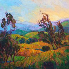 California wine country landscape oil painting by modern impressionist Erin Hanson