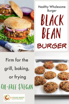 If you're tired of mushy falling apart vegan black bean burgers, it's time to try the last one you'll ever try for the first time. These hearty black bean burgers will hold up to grilling, baking, or pan frying! #blackbeanburger #veganblackbeanburger #plantbasedburger #wfpbburger #healthybeanburger #nooil Vegan Lunch Recipes, Vegan Foods, Vegan Dinners, Diet Recipes, Vegan Veggie Burger, Veggie Burgers, Vegan Grilling, Grilling Recipes, Healthy Beans