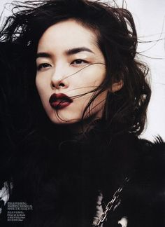 With dark lips. Fei Fei Sun photographed by Josh Olins for Vogue China November Dark Lipstick Makeup, Best Lipstick Color, Best Lipsticks, Lipstick Colors, Maroon Lipstick, Fall Lipstick, Purple Lipstick, Lip Colour, Makeup Ideas