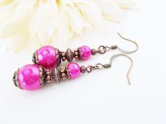 Magenta Pearl Bridal Earrings, Dark Pink Earrings, Bright Pink Dangle Earrings, Copper Pink Earring, Bold Pink Earrings, Wedding Bridesmaids