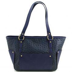"""Italiaanse leren shopper / boodschappentasHet buitenmateriaal van deze tas is echt kalfsleer in struisvogel Look. """"Sauvage"""" Leer.Van binnen heeft de tas 2 vakken, binnenvak met ritssluiting, Smartphone etui, -"""