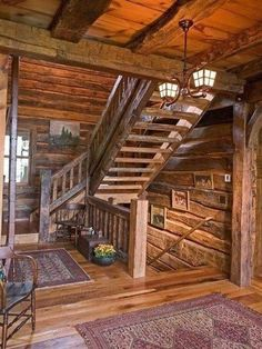 96 Extraordinary and Unique Rustic Stairs Ideas result Log Cabin Living, Log Cabin Homes, Log Cabins, Mountain Cabins, Rustic Staircase, Staircase Ideas, Wood Stairs, Timber Staircase, Open Stairs