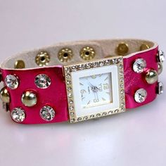 Use coupon code: pin10 for 10% off your first purchase on www.blondellamydean.com  #watch #bracelet #studded #pink #jewelry #blondellamydean