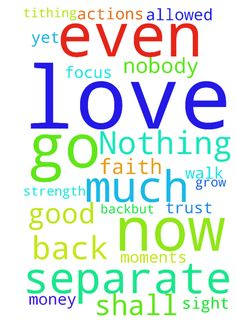 Nothing or nobody shall separate me for the love of - Nothing or nobody shall separate me for the love of God You know, I was reflecting on my year...not to go back...but to grow from my life moments the good and the not so good. It is so easy to get consumed in your circumstances and lose sight of our purpose. That happened to me. I lost my FOCUS on GOD I had to go through some stuff only for me to realize that I was dishonoring God through my speech and my actions. Yet, I continued to…