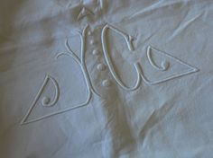 Art Deco French mongrammed linen sheet, initials JC or JG, gorgeous vintage French bedding by Histoires on Etsy #artdeco #sheet #linen #bedding #french #histoires #etsy