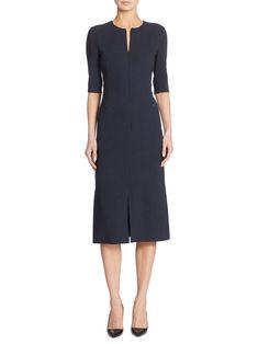 Akris Zip-Front Wool Dress - Midnight 10