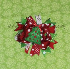 Christmas Tree Hair Bow Center Embroidery by theappliquediva, $2.99