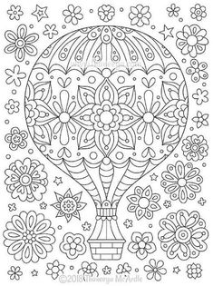 Hot Air Balloon Coloring Page from Thaneeya McArdle& Think Happy Coloring B.,Hot Air Balloon Coloring Page from Thaneeya McArdle& Think Happy Coloring Book. Mandala Coloring Pages, Coloring Pages To Print, Free Coloring Pages, Coloring Books, Coloring Pages For Grown Ups, Coloring Sheets For Kids, Printable Adult Coloring Pages, Colouring Pages For Adults, Balloons