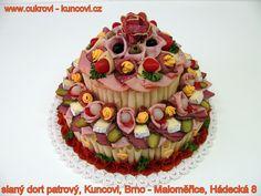 slaný dort, Kuncovi, Brno - Maloměřice, Hádecká 8, www.cukrovi-kuncovi.cz www.cukrovi-kuncovi.cz/studena-kuchyne/slane-dorty Birthday Cake, Desserts, Food, Tailgate Desserts, Deserts, Birthday Cakes, Essen, Postres, Meals