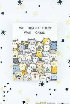 We Heard There Was Cake Kitty Birthday Card - featuring Mama Elephant stamps, simple masking, and Copic colouring gifts for best friend hilarious We Heard There Was Cake Kitty Birthday Card Birthday Card Drawing, Simple Birthday Cards, Birthday Cards For Women, Bday Cards, Birthday Cards For Friends, Birthday Diy, Funny Birthday Cards, Handmade Birthday Cards, Cake Birthday