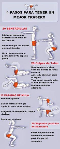 4 ejercicios para tener un mejor trasero. #deporte #infografia