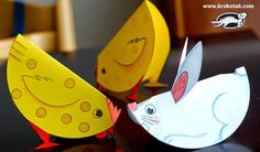 Easy-To-Build Paper Animals For Little Kids - by Krokotak - == - In this Russian educational website called Krokotak you will find this cool project with templates of cute animals to cut and fold, perfect for little kids. Kids Crafts, Easter Crafts For Toddlers, Farm Crafts, Toddler Crafts, Preschool Crafts, Arts And Crafts, Cool Paper Crafts, Paper Plate Crafts, Paper Plates