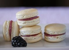 Pearl Macarons with Blackberry Lime Curd