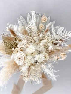 Dried Flower Bouquet, Flower Bouquet Wedding, Dried Flowers, Floral Wedding, Ribbon Bouquet, Bridal Bouquet Diy, Gerbera Wedding, Neutral Wedding Flowers, Silk Flowers
