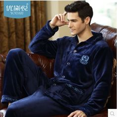 e830c1a10d 2016 New Spring Autumn Winter coral fleece Men Sleepwears Male Set Thick  flannel lounge long-