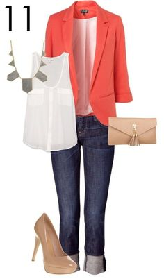 Night Out Outfit Idea - Coral Blazer