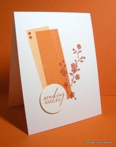 """Stamps: Hero Arts (sentiment, shadow rectangle), Garden Silhouettes (branch)  Ink: apricot, pumpkin pie, really rust  1 3/8"""" circle punch"""