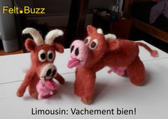 Limousin cows finger puppets