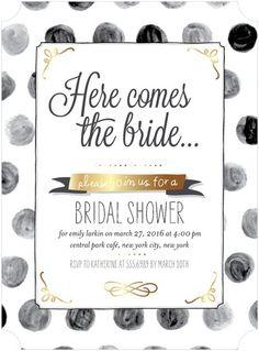 Brushed Dots - Signature White Bridal Shower Invitations - Tallu-lah - Fog - Neutral : Front