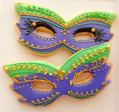 Mardi Gras Mask Cookies~        by CompassionateCake on Etsy, $37.95, purple, green, gold