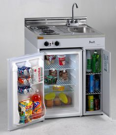A complete mini-kitchen with burners, sink and fridge. A great and easy concept to incorporate into your basement or other rooms.  http://www.knsales.com